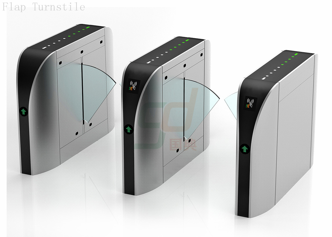 Stainless Steel ESD Flap Barrier Gate Turnstile Solution DC brushless motor