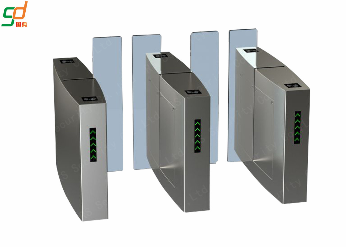 Servo Driver High Speed Gates , Slim Wing Access Control Barriers Toughened Glass
