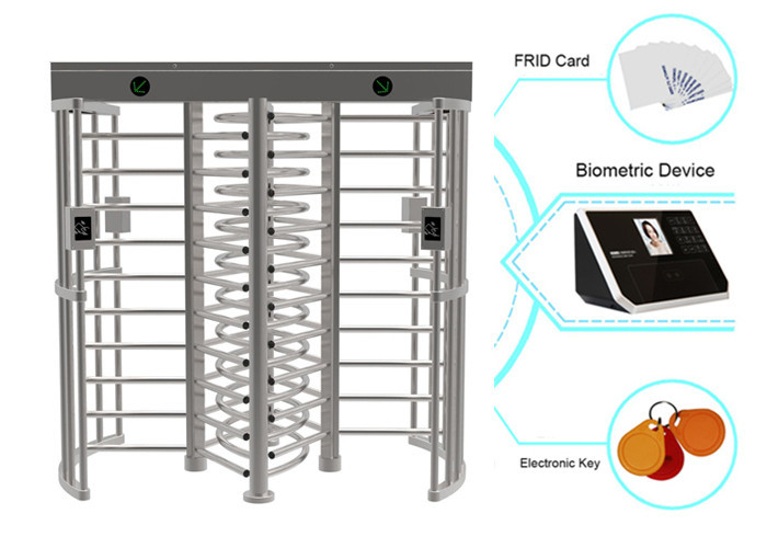 Card Or Biometric RFID Full Height Turnstiles Electrical Barrier With 0.6S Response Time